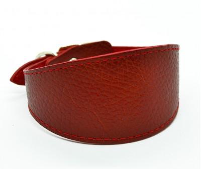 Ошейник селедка кожаный, темно-красный | ширина 5 см / 26-28 см