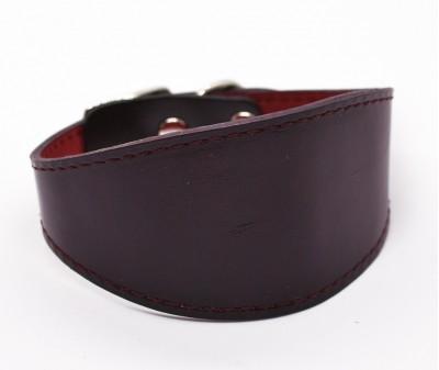 Ошейник селедка кожаный, темно-бордовый | ширина 5 см / 25-30 см