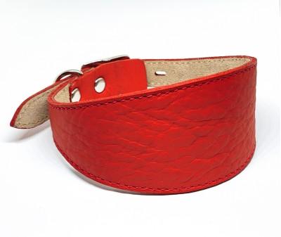 Ошейник селедка кожаный, красный | ширина 5 см / 26-28 см