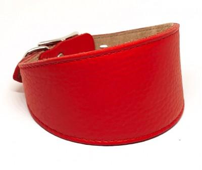 Ошейник селедка кожаный, красный | ширина 6 см / 35-40 см