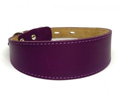 Ошейник селедка кожаный пурпурный | ширина 4 см / 30-35 см