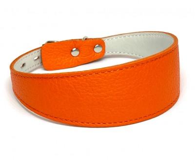 Ошейник селедка кожаный оранжевый | ширина 4 см / 30-35 см