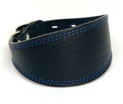 Ошейник селедка кожаный черный| ширина 5 см / 25-30 см
