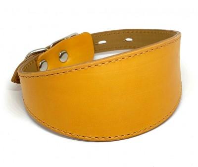 Ошейник селедка кожаный желтый| ширина 5 см / 28-35 см