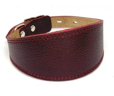 Ошейник селедка кожаный бордовый| ширина 5 см / 28-35 см