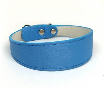 Ошейник селедка кожаный синий | ширина 3 см / 24-28 см
