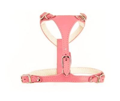 Шлейка кожаная  для маленьких собак и кошек |  розовая | 1 см / 26-31 см