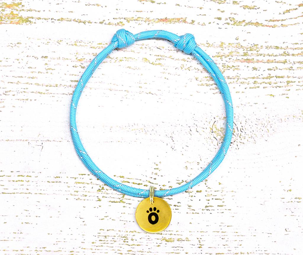 Ошейник-шнурок для адресника светоотражающий  для собаки, кошки  голубой
