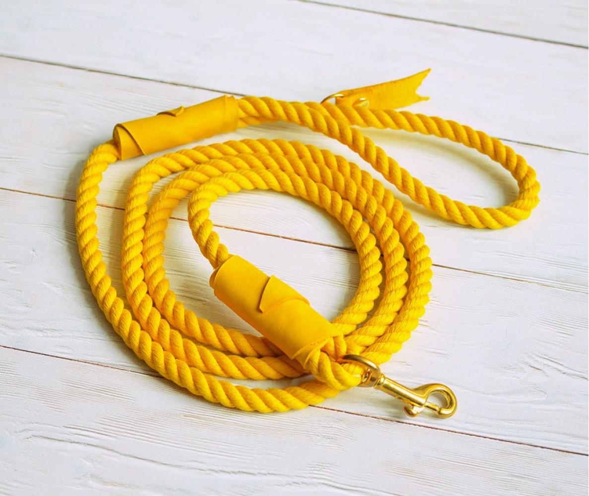 Поводок из каната желтый с обмоткой в тон, толщина 8 мм, длина 1,5 м