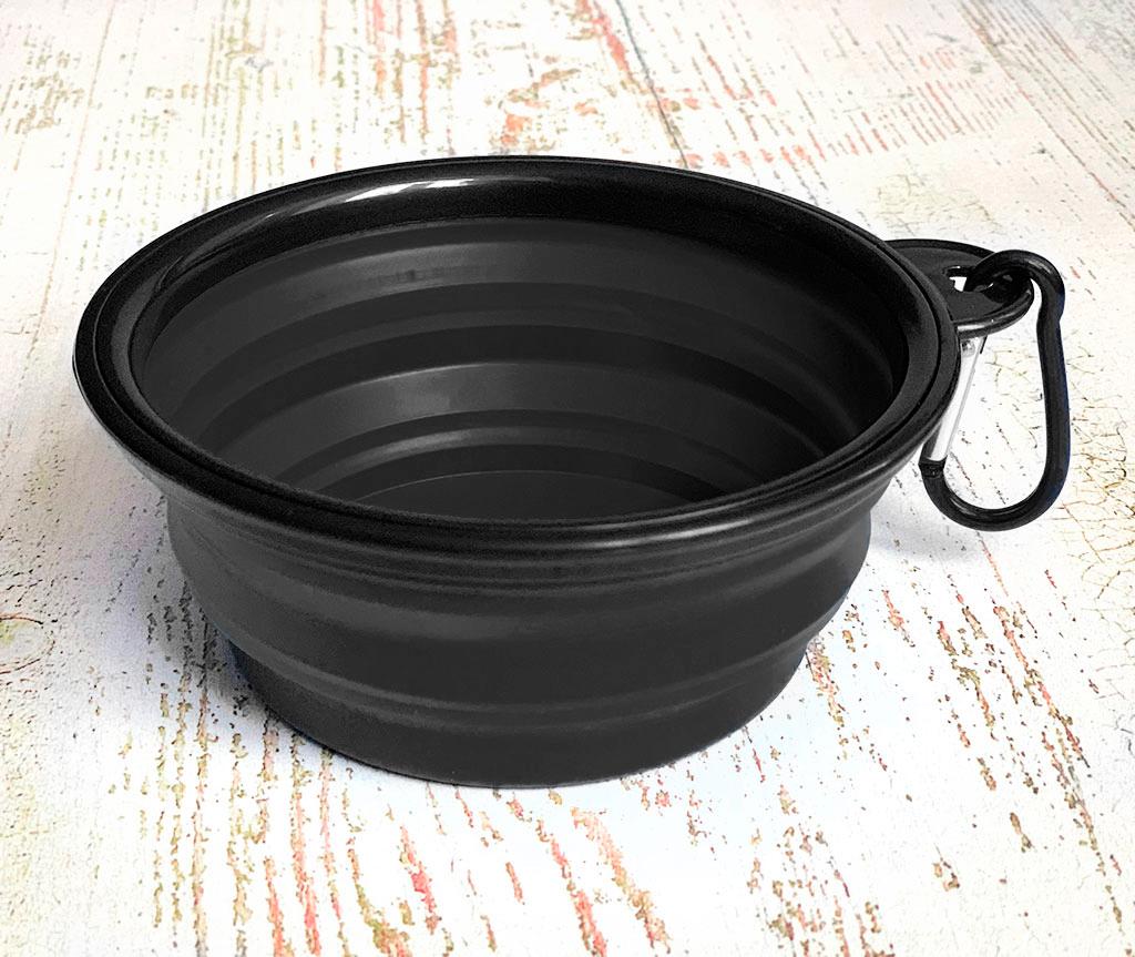 Миска складная дорожная силикон, черная / 300 мл, D13 см