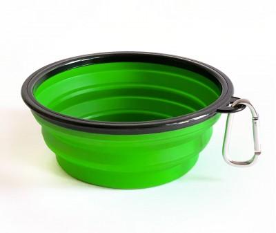 Миска складная дорожная, зеленая / 1000 мл