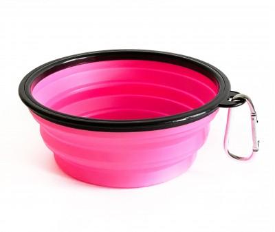 Миска складная дорожная, розовая / 1000 мл