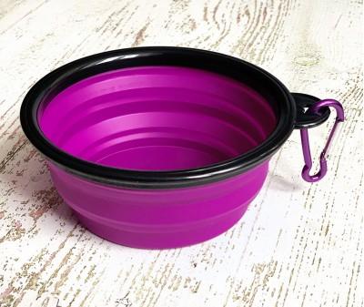 Миска складная дорожная, фиолетовая / 250 мл, D13 см
