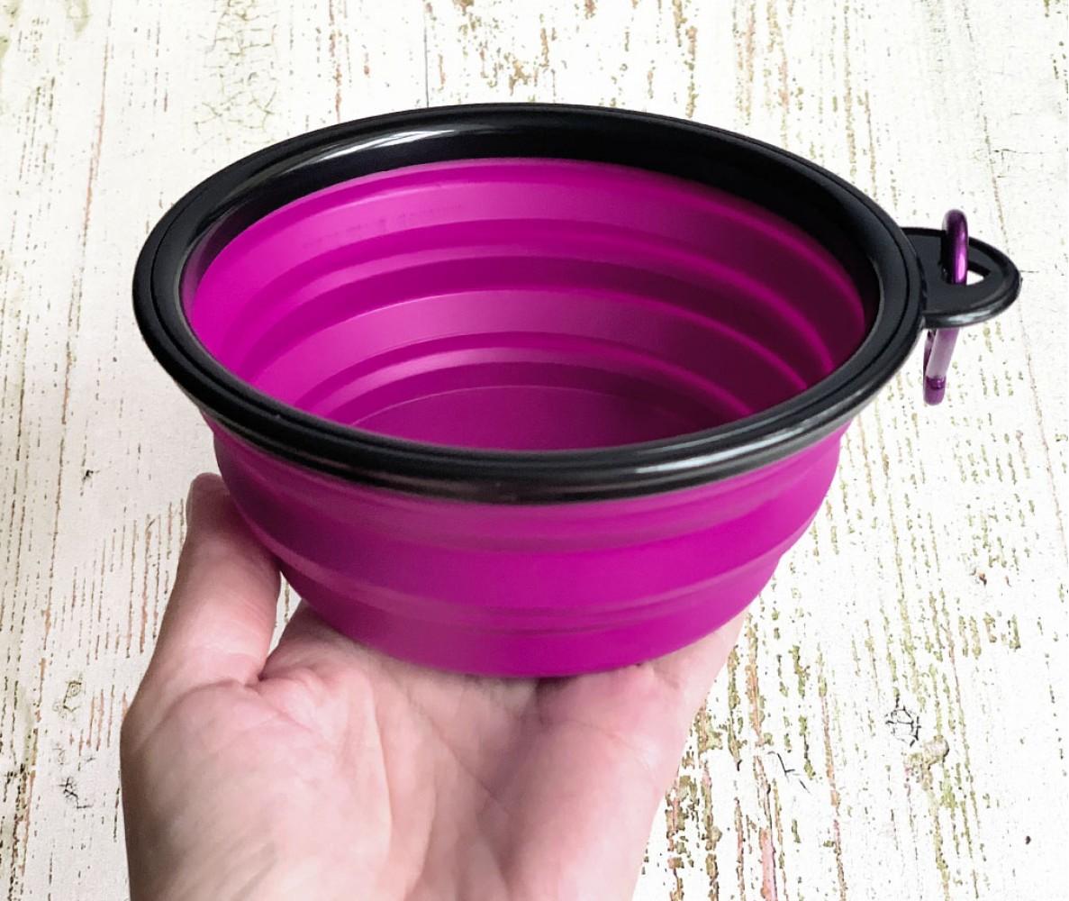 Миска складная дорожная силикон, фиолетовая / 300 мл, D13 см