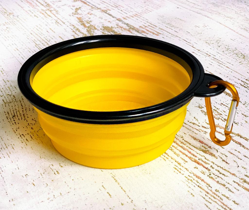 Миска складная дорожная силикон, желтая / 250 мл, D13 см