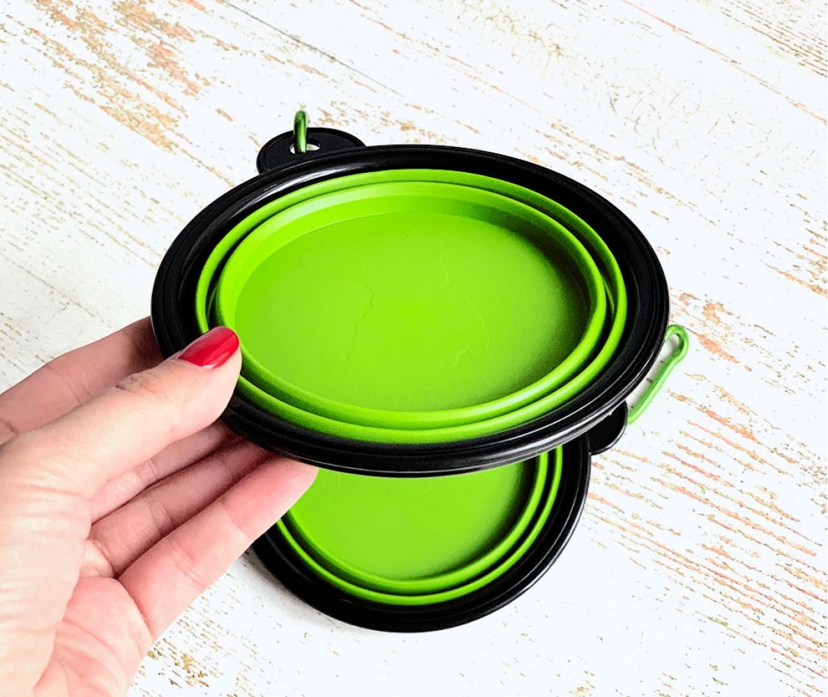 Миска складная дорожная силикон, салатовая / 300 мл