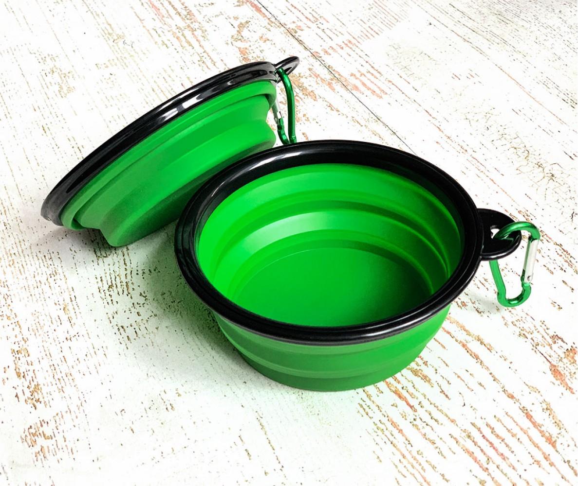 Миска складная дорожная силикон, зеленая / 250 мл