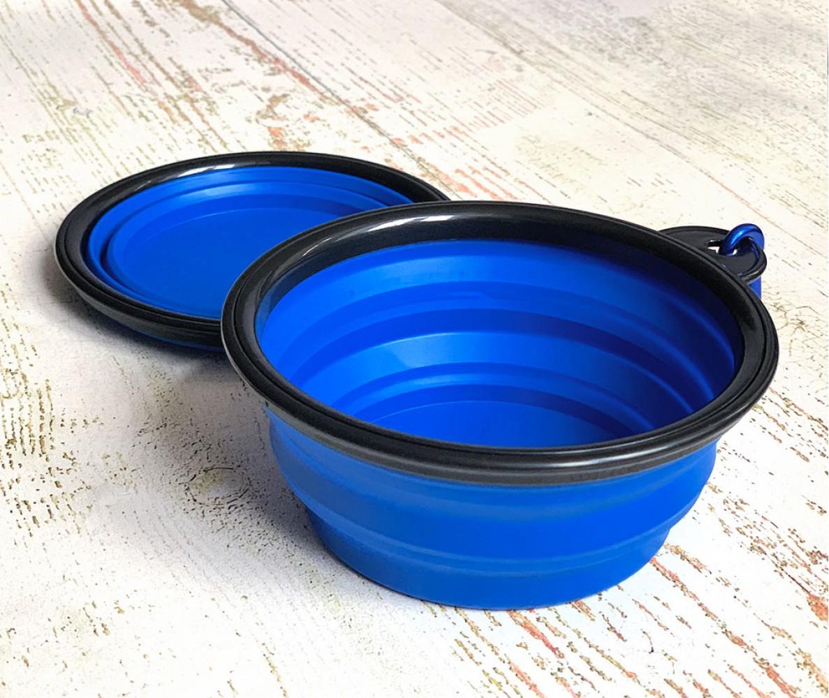 Миска складная дорожная силикон, синяя / 250 мл, D13 см