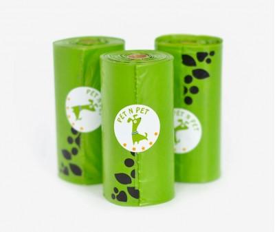 Пакеты для уборки за собакой, зеленые| 3 рулона,  54 шт