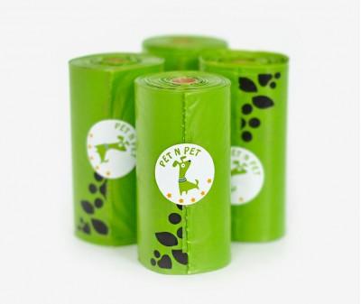 Пакеты для уборки за собакой, зеленые | 4 рулона,  72 шт