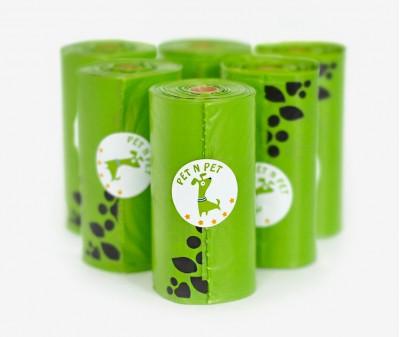Пакеты для уборки за собакой, зеленые | 6 рулонов,  108 шт