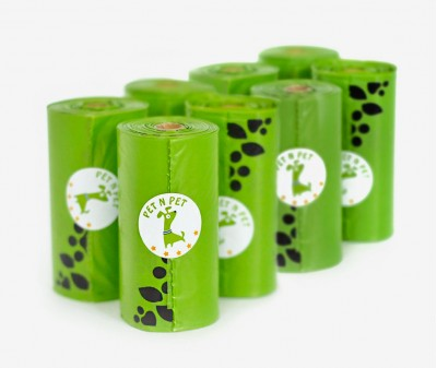 Пакеты для уборки за собакой, зеленые | 9 рулонов,  162 шт