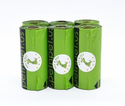 Пакеты для уборки за собакой, зеленые | 10 мкр, 6 рулонов,  90 шт