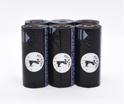 Пакеты для уборки за собакой, черные | 10 мкр, 6 рулонов,  90 шт