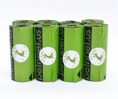 Пакеты для уборки за собакой, зеленые | 10 мкр, 8 рулонов,  120 шт