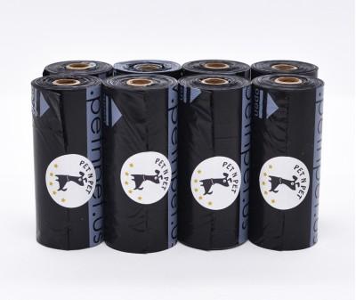 Пакеты для уборки за собакой, черные | 10 мкр, 8 рулонов,  120 шт