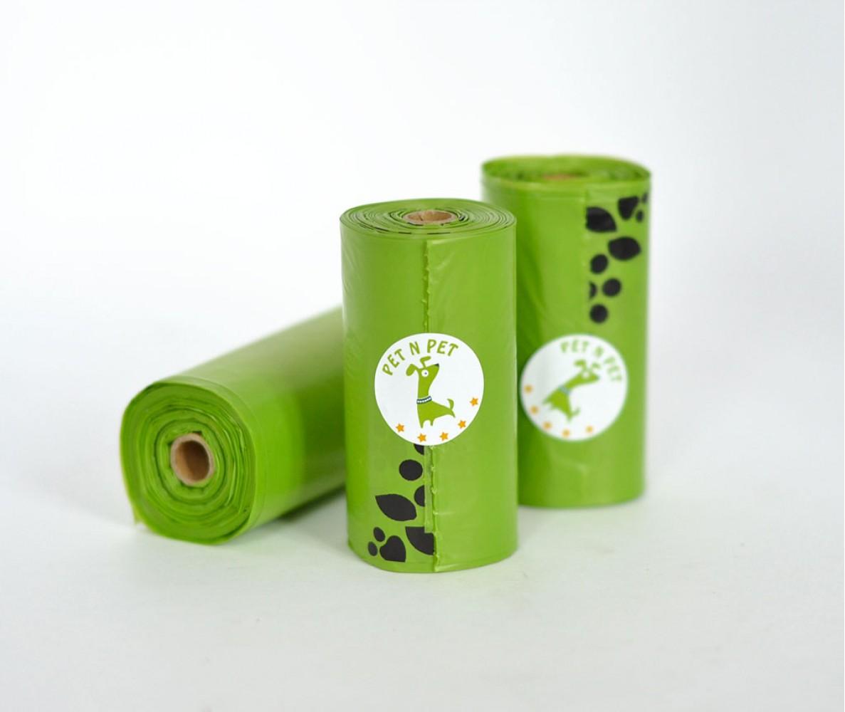 Пакеты для уборки за собакой во время прогулок, зеленые |  9 рулонов,  162 шт