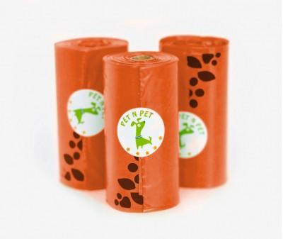 Пакеты для уборки за собакой, оранжевые  | 3 рулона,  54 шт