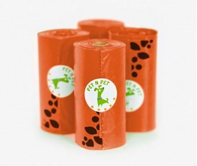 Пакеты для уборки за собакой, оранжевые | 4 рулона,  72 шт