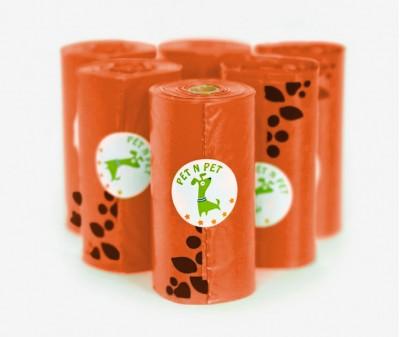 Пакеты для уборки за собакой, оранжевые | 6 рулонов,  108 шт