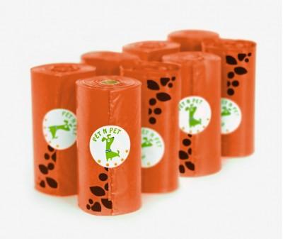 Пакеты для уборки за собакой, оранжевые | 9 рулонов,  162 шт