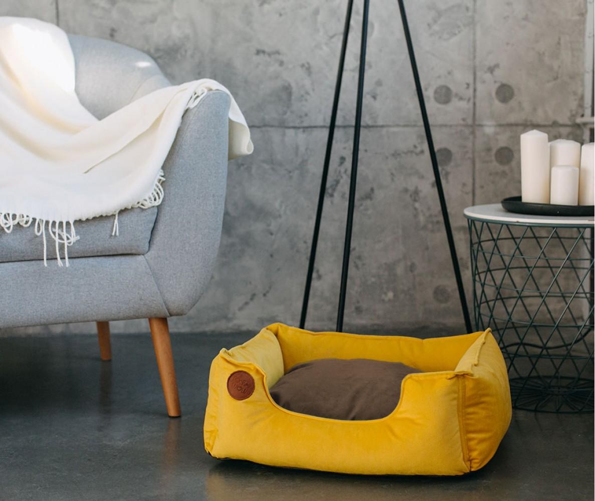 """Лежанка для собак """"SOFT"""" желтая    70*50 см"""