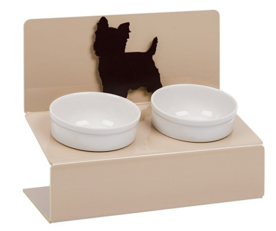 "Миска для собак  на подставке Artmiska ""Йорк"",  двойная | бежевая | 2 х 360 мл"