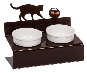 """Миска для кошек на подставке Artmiska """"Кот и рыбка"""",  двойная   коричневая    2 х 360 мл"""