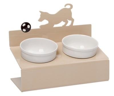 "Миска для собак на подставке Artmiska ""Собачка"",  двойная | бежевая | 2 х 360 мл"