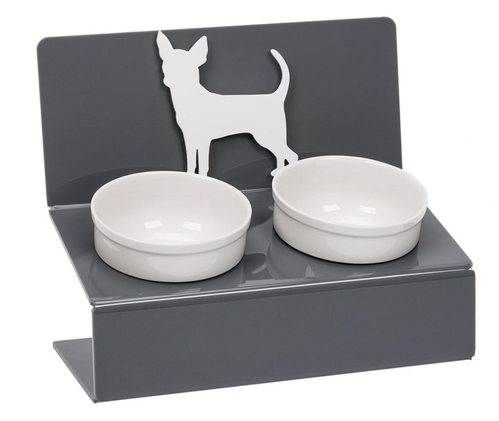 """Миска для собак на подставке Artmiska """"Чихуахуа"""",  двойная   серая   2 х 360 мл"""