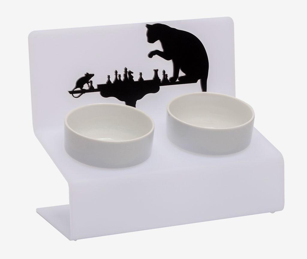 """Миска на подставке для собак Artmiska """"Шахматы"""",  двойная   белая    2 х 360 мл"""