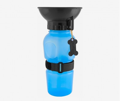 Поилка-бутылка для собак и кошек, 500 мл, высота 21 см / голубая