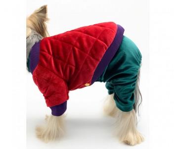 Куртка для собаки, бархатная   крас...