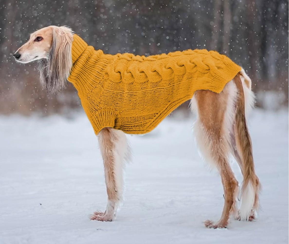 """Свитер для большой собаки """"Lori"""" (на заказ)    горчичный №24"""