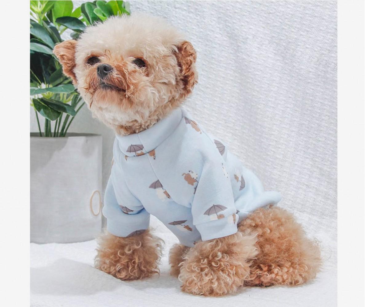 """Толстовка худи для маленьких собак """"Зонтики"""" голубая"""