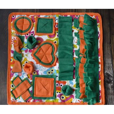 Умный плед зелено-оранжевый | 50*50 см