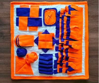 Умный плед оранжево-синий | 50*50 см