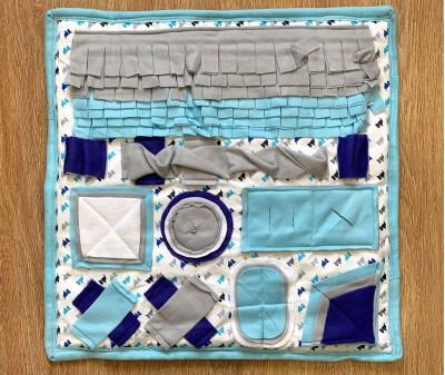 Нюхательный плед сине-голубой, мод.2 | 55*55 см