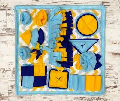 Нюхательный коврик сине-желтый   50*50 см