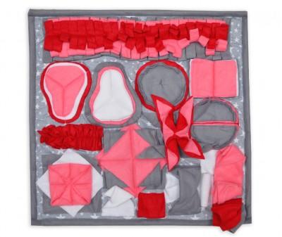Нюхательный коврик 50*50 / серо-розовый